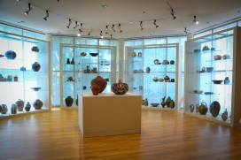 One of the lovely sun rooms with collections of ceramics
